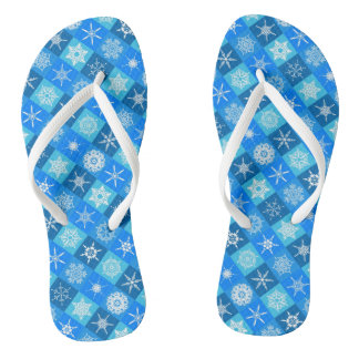 Cute blue snowflake patterns design flip flops