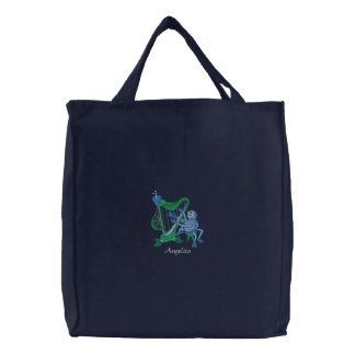 Cute Blue Spider Playing Flower Musical Harp Embroidered Tote Bag