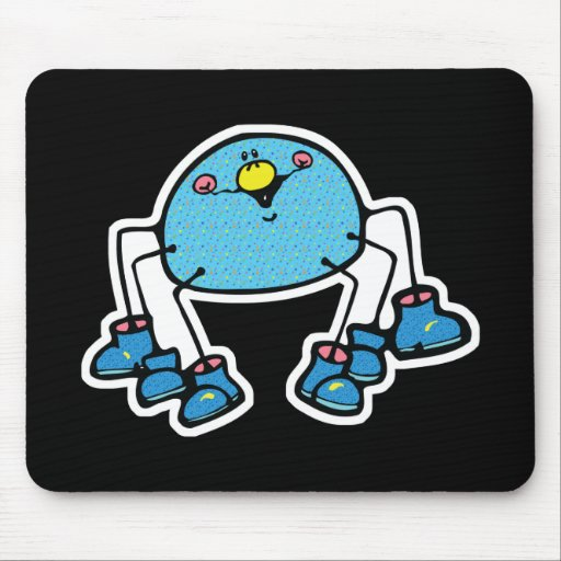 cute blue spider wearing shoes mouse pads