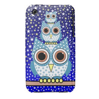 cute blue spotted owls iPhone 3 covers
