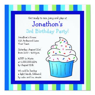 Cute Blue Sprinkle Cupcake Birthday Party Invite
