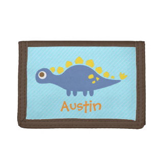 Cute Blue Stegosaurus Dinosaur For Kids Trifold Wallet