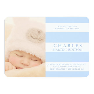 CUTE BLUE STRIPE BIRTH ANNOUNCEMENT PHOTOCARD