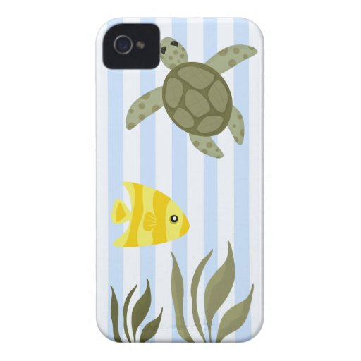 Cute Blue Stripe Ocean with Sea Turtle and Fish iPhone 4 Cover