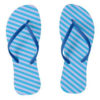 Cute blue stripes patterns flip flops