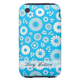 Cute blue summer flowers tough iPhone 3 cases