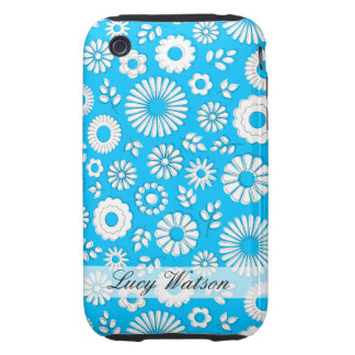 Cute blue summer flowers tough iPhone 3 cases