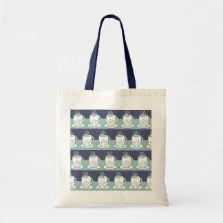 Cute Blue Teacup Print Tote Bag