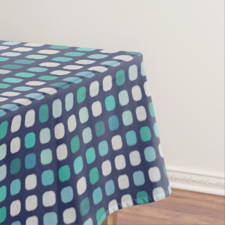 Cute Blue Teal Turquoise Round Square Pattern Tablecloth