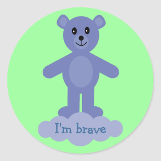 Cute Blue Teddy Bear I'm Brave Reward Stickers