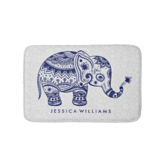 Cute Blue Tones Floral Elephant Bath Mats