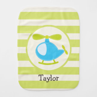 Cute Blue Toy Helicopter on Lime Green Stripes Burp Cloth