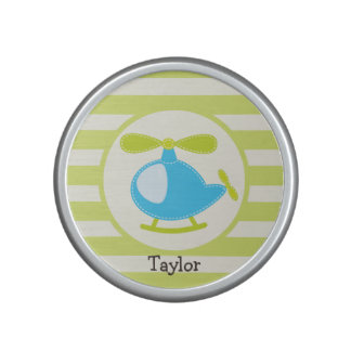 Cute Blue Toy Helicopter on Lime Green Stripes Speaker