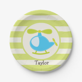 Cute Blue Toy Helicopter on Lime Green Stripes Paper Plate