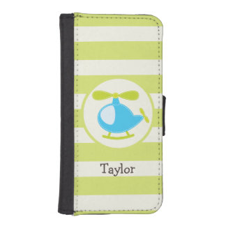 Cute Blue Toy Helicopter on Lime Green Stripes iPhone 5 Wallet