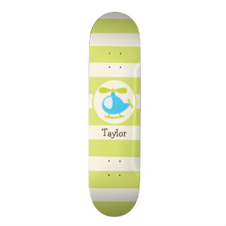 Cute Blue Toy Helicopter on Lime Green Stripes Skate Deck