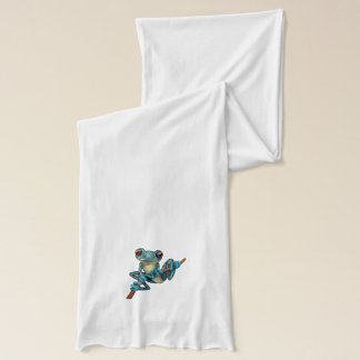 Cute Blue Tree Frog on a Branch Scarf