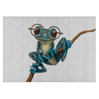 Cute Blue Tree Frog with Eye Glasses on White Cutting Board