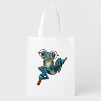 Cute Blue Tree Frog with Eye Glasses Reusable Grocery Bag