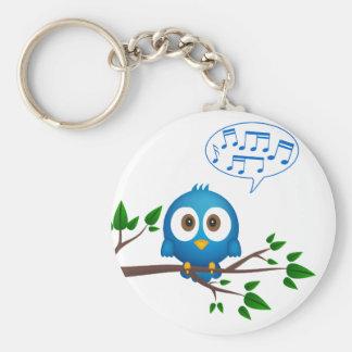 Cute blue twitter bird cartoon basic round button key ring