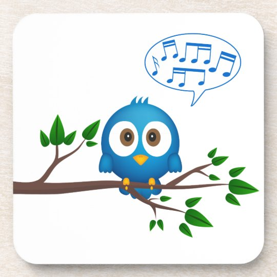 Cute blue twitter bird cartoon coaster