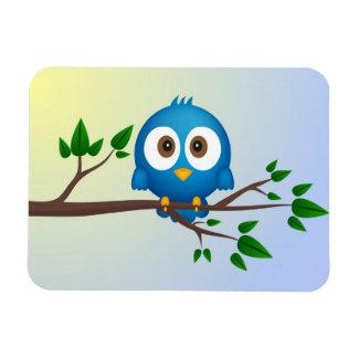 Cute blue twitter bird cartoon rectangular photo magnet