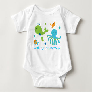Cute Blue Under The Sea Birthday Baby Bodysuit