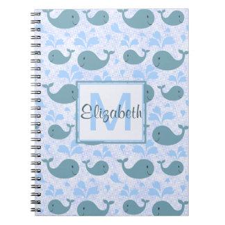 Cute Blue Whales Monogram Pattern Spiral Notebook