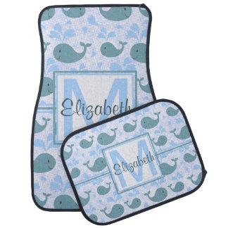 Cute Blue Whales Pattern Monogram Floor Mat