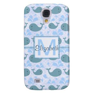 Cute Blue Whales Pattern Monogram Galaxy S4 Case