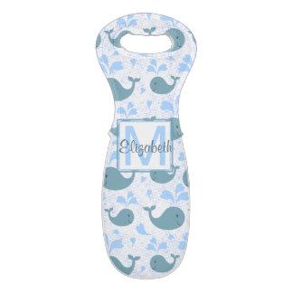 Cute Blue Whales Pattern Monogram Wine Bag