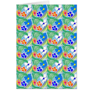 Cute Blue White & Orange Flower Art Greeting Card