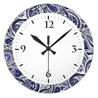 Cute blue white paisley patterns design large clock