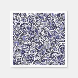 Cute blue white paisley patterns design paper napkin