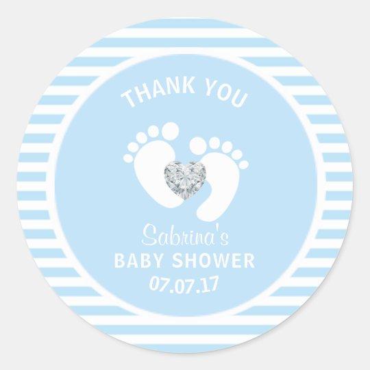 Cute Blue White Stripes Feet Heart Boy Baby