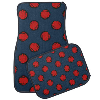 Cute Blue with Red Polka Dots Car Mats