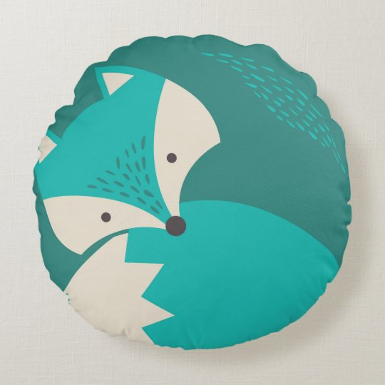 Cute Blue Wolf Cartoon Round Pillow For Kids Zazzle Co Uk