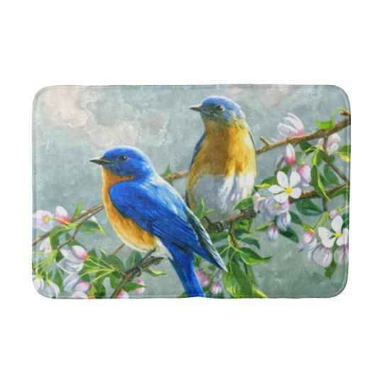 Cute Blue Yellow Birds Cherry Blossom Watercolor Bath