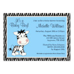 Cute Blue Zebra Boy Baby Shower Invitations Personalized Announcement