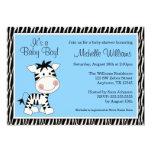 "Cute Blue Zebra Boy Baby Shower Invitations 5"" X 7"" Invitation Card"