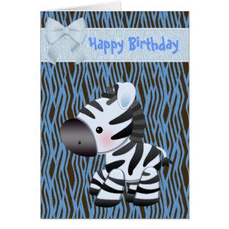 Cute Blue Zebra & Cupcake (inside) Birthday Card