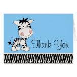 Cute Blue Zebra Thank You Cards