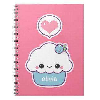Cute Blueberry Cupcake Notebook