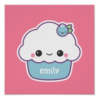 Cute Blueberry Cupcake Poster