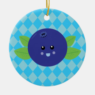 Cute Blueberry Double-Sided Ceramic Round Christmas Ornament