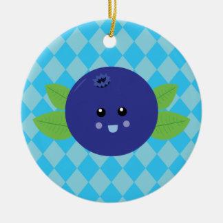 Cute Blueberry Round Ceramic Decoration