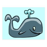 CUTE BLUEISH GREY GRAY WHALE CARTOON ANIMAL SEALI POSTCARD