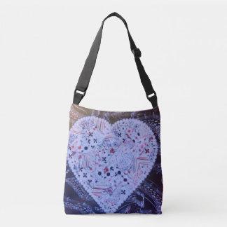 Cute bluish heart tote bag