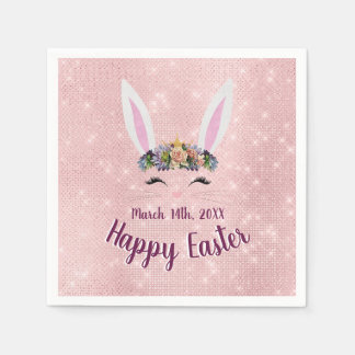 Cute Blush Pink Happy Easter Bunny Disposable Serviette