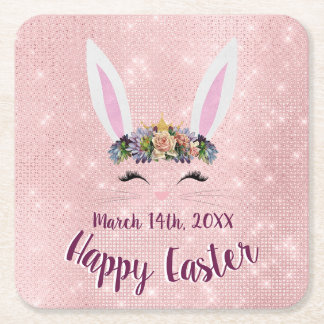 Cute Blush Pink Happy Easter Bunny Square Paper Coaster